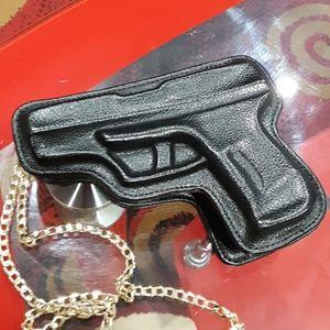 FASHION BAG GUN DESIGN BLACK FAUX NEW